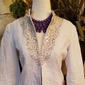 Chico's White Jacket w Gold Beads